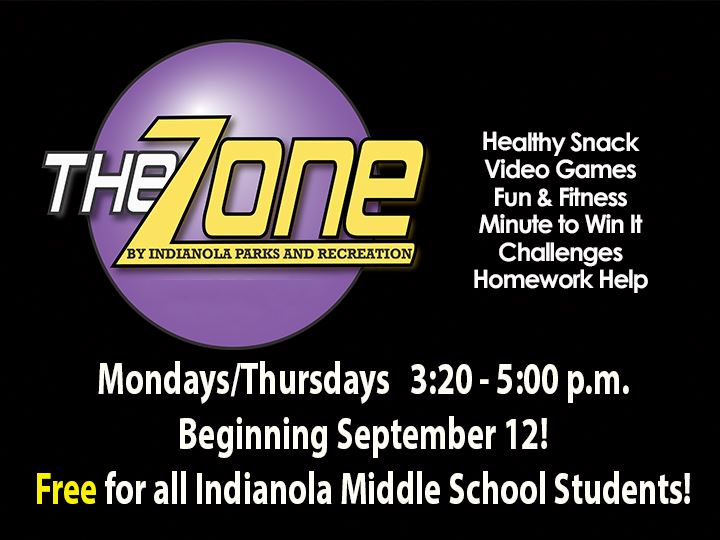 The Zone at Indianola Middle School begins Monday, Sept 12