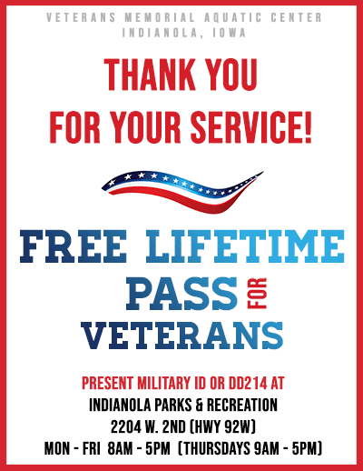 Veterans Lifetime Pass - Indianola Veterans Memorial Aquatic Center