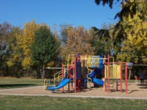 Dayton Park playground with wooded area in the background